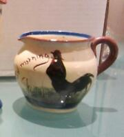 WATCOMBE MOTTO-WARE COCKEREL ROOSTER CREAMER Good Morning Yer's some Gaim For'ee