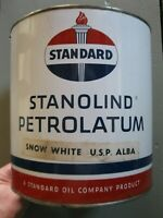 Vintage Standard Oil Company 10 lb. Snow White Oil Grease Tin Can Torch Logo