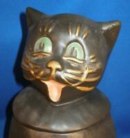 HTF McCoy Pottery Cookie Jar COALBY CAT with Decorated Facial Features c1967