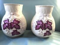 A Period Pair of 1880s American-Avalon Faience-Chesapeake Pottery Majolica Vases