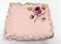Vintage Art Pottery Ceramic Plate Square With Raised Rose In Corner Of Plate 8