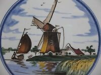Vintage DELFT Tile Hand Painted WINDMILL SAILBOAT SCENE 6