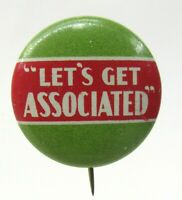 1930's LET'S GET ASSOCIATED gasoline oil pinback button Tidewater Tydol Flying A
