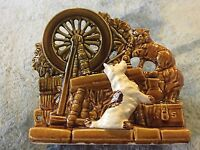 Vintage 50s Nelson McCoy Art Pottery Planter Cat Dog Spinning Wheel Brown Green