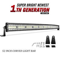 52inch 1250W Curved LED Light Bar Tri-Row Combo Offroad Roof Light For Truck ATV