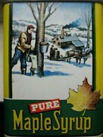 Vintage Pure Maple Syrup Can Sign Advertising Tin Horse Cabin Sap Buckets