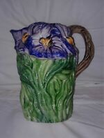 New CERAMICHE BASSANO POTTERY LARGE FLORAL MAJOLICA PITCHER, MADE IN ITALY