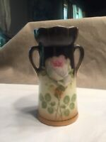 Vintage 5 1 4quot; Tall Twin Handled Czech Pottery Vase Beautiful Rose Design