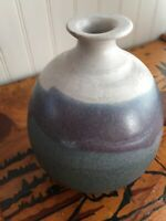 Vintage Artisan 1970s Hand Turned Stoneware Clay Vase Blue Drip Signed
