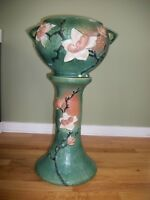 Antique Roseville Pottery Green Magnolia Jardiniere And Pedestal 665-8 AS IS