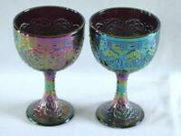 FENTON AMETHYST CARNIVAL PERSIAN MEDALLION FOOTED CHALICES ~ LOGO ~ HARD TO FIND