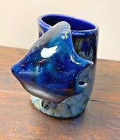 Handmade Pottery Blue Mug Sting Ray Handle Ocean Wave Nautical Sea Creature