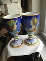 TWO HANDPAINTED GOBLETS MADE IN ITALY FOR NEIMAN MARCUM