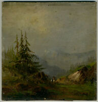 Nicolas-Louis Cabat Landscape 19th century Oil Painting on Wood Signed Framed