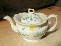 1840s Antique Staffordshire CHINA Soft Paste WARE GREEN FLORAL TEAPOT 10X5X6