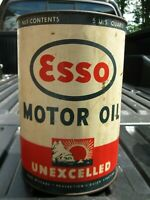Vintage ESSO Standard Oil Of Ohio UNEXCELLED 5 Quart Tin Oil Can - AMAZING !!