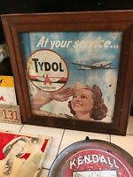Rare Vintage Original Advertising Sign TYDOL GASOLINE at your service airplane