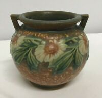 1933 Roseville Pottery Dahlrose Small Handled Vase 628-4 tan