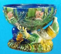 Vintage Reproduction Majolica Candy Bowl With Gnome & Holly