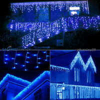 US 96-672 LED String Fairy Icicle Snowing Curtain Lights Xmas Wedding Party Blue
