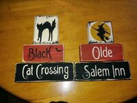 Halloween Block Sign Witch Black Cat