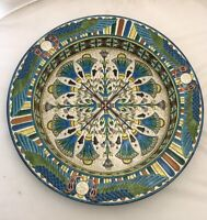 Longwy Faience Charger Deep Dish C 1875 Egyptian Lotus Winged Scarab Enamel  17""