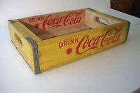 Vintage 1960's Drink Coca-Cola Coke Wooden Crate Alton IL Yellow Nice Condition