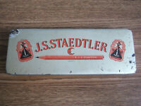 Rare vintage J.S.STAEDTLER Pencils advertising tin box made in Germany.