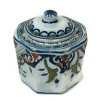 Vintage Inkwell Inkstand French Pottery Faience French Decor Rouen Hand Painted