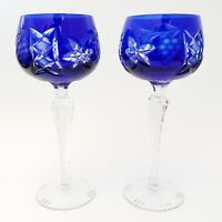2 Cobalt Blue Cut To Clear Crystal Wine Hocks Lausitzer Germany Grapes