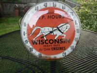 ANTIQUE WISCONSIN AIR COOLED HEAVY DUTY ENGINE THERMOMETER 12
