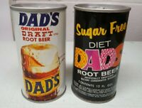 Lot of 2 Vintage Dad's Root Beer Sealed Pull Tab Soda Cans Sugar Free Diet Rare