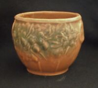 Vintage 1930's McCOY Brown & Green Leaves & Acorns  small Jardiniere