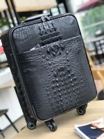 Black Genuine Crocodile Leather Luggage Bag Business Trolley Travel Bag 22″