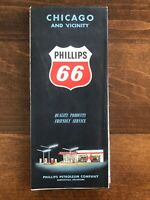 Vintage 1961 PHILLIPS 66 Map CHICAGO AND VICINITY
