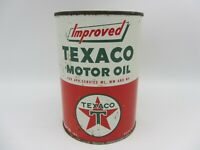 VINTAGE EMPTY 1 QUART TEXACO IMPROVED MOTOR OIL METAL CAN LUBE BOTTOM OPENED