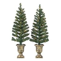 Pre-Lit  Christmas Trees, 2-Pack, White Lights, Green Color, 3.5', in/outdoor