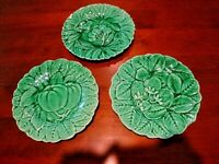 Antique Set of 3 French Majolica Portieux Vallerysthal Salad Plates PV France