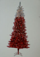 Artificial Pre Lit 7.5' Red Ombre Flocked Christmas Tree Red White Fade 2 Tone
