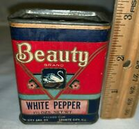 ANTIQUE BEAUTY WHITE PEPPER SPICE TIN VINTAGE SWAN GROCERY CAN GRANITE CITY IL