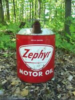 VINTAGE ZEPHYR RED WHITE  OIL CAN 5 GAL OLD GAS STATION PETROLIANA ADVERTISING
