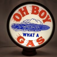 Original Oh Boy Gas Pump Globe From Unity Oil Company