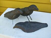 Vintage Crow Decoys Lot Of 3