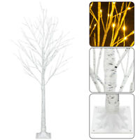 Christmas Snowflake Birch Snow Tree with 48 LED Lights 4 ft Xmas Indoor Outdoor