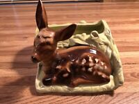 Vintage Shawnee Pottery # 766 Fawn / Deer Laying in Grass Planter  6
