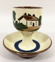 Watcombe Torquay Motto Ware Egg Cup w/ Saucer Cottage Laid Today Vtg England