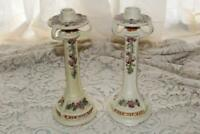 Pair Weller Roma Candlestick Lamp Bases Nice