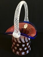 Fenton Stars And Stripes Red White Blue Patriotic Blown Glass Hat Basket Nice!