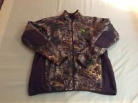 New Men Under Armour Stealth Fleece Hunting Jacket Real Tree Camo 2XL