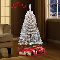 Artificial 4ft White Christmas Tree Flocked with Clear Lights Holiday Snowy Pine